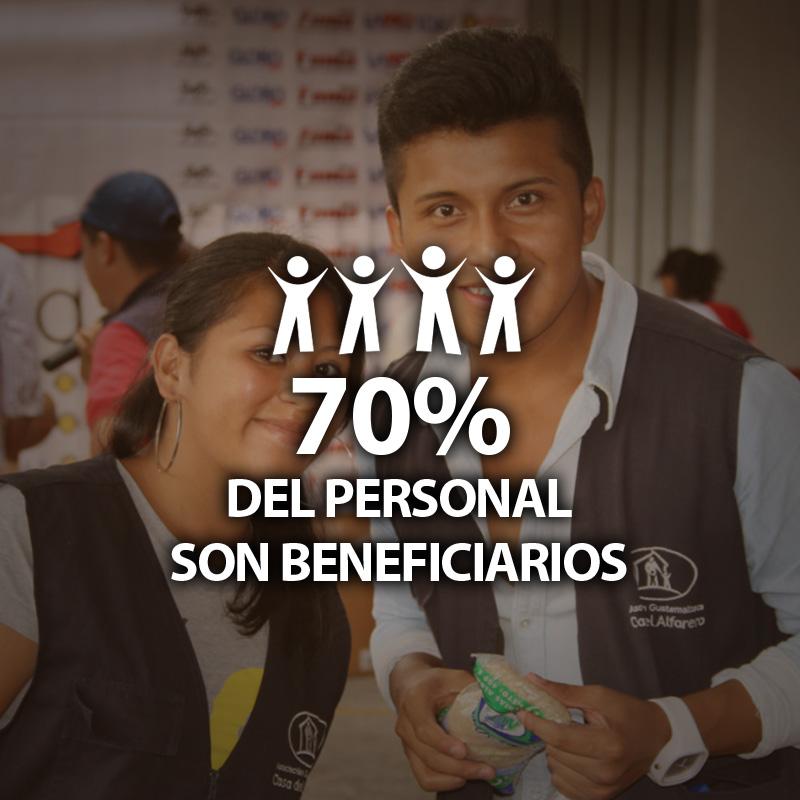 70% del personal son beneficiarios